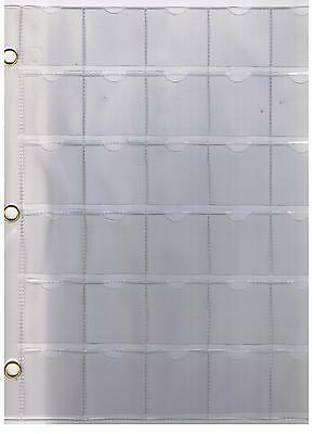"30 Pocket Clear Coin Sheet Album Page Fits 1 1/2"" X 1 1/2"" Coin Holder 3  Rings"