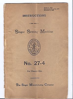 Original 1908 Singer 27 Sewing Machine Instruction Manual...antique booklet