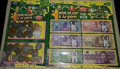 Play Money With Canada Paper$ & Plastic Coin Assorted - Canadian Unopened