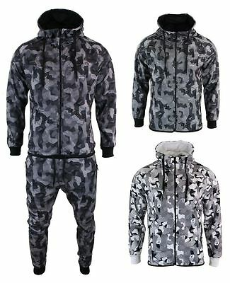 Mens Camo Army Tracksuit Combat Zip Hoodie Top Elasticated Bottoms Tailored Fit