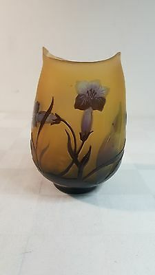 """Galle cameo art glass 5"""" vase made late 20th C in France"""