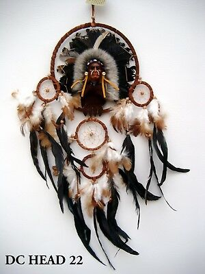 LARGE 70 CM DROP BROWN SUEDE DREAM CATCHER DECORATED WITH INDIAN HEAD / dchead22