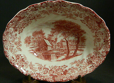 "Vintage Johnson Bros. Red Mill Stream Scalloped Edge Serving Bowl 9"" x 2.25"""