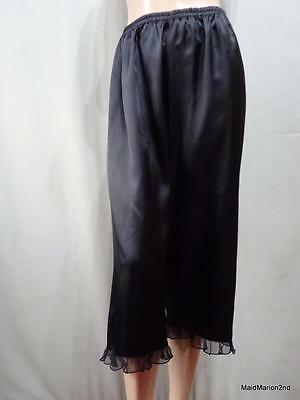 VINTAGE STYLE SILKY SOFT BLACK SATIN BLOOMER PANTIES KNICKERS Med     o