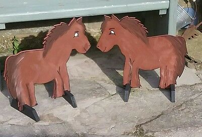 2 x BROWN PONIES shaped Horse show jump fillers or wings pony show farm events