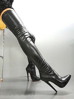 Mori Overknee Extreme Heels Italy Stiefel Boots Stretch Leather Black Nero 44