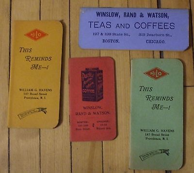 Vintage Pocket Memo Booklets 1899 Purity Coffee 1939 HiLo Paint 4 Booklets