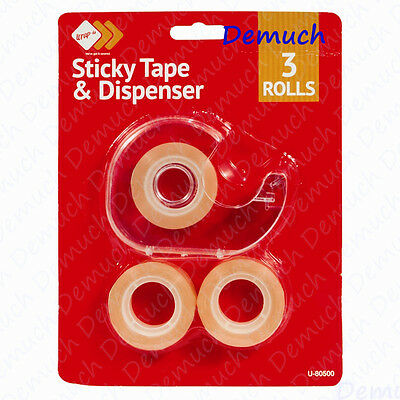 New 3 STICKY TAPE & DISPENSER Sellotape Holder Office School Home Wrapping UK ✔