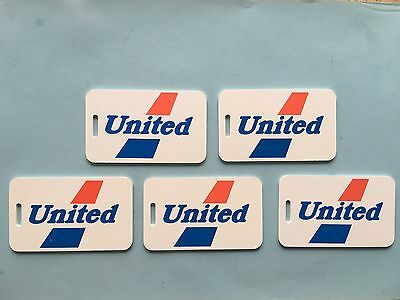 United Airlines 1970s Luggage Tag Vintage (5 Tags), Red & Blue Old Logo