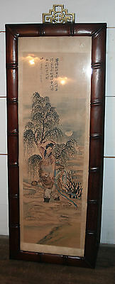 ANTIQUE Chinese Painting on Silk  LANDSCAPE SIGNED Carved BAMBOO WOOD FRAME #2