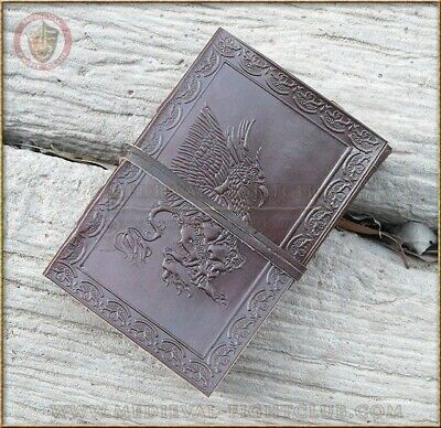 Handmade Cotton Paper Gryphon Leather Journal 10cm x 15cm