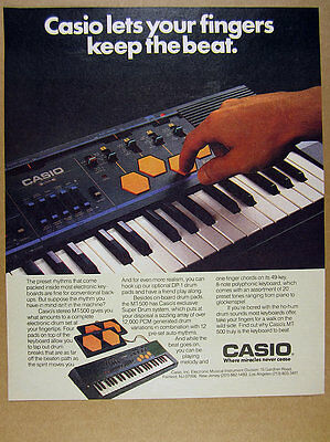 1986 Casio Casiotone MT-500 keyboard DP-1 drum pads color photo vintage print Ad