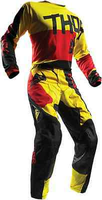 Thor MX Pulse Taper Red Yellow Jersey Pant Combo Set Motocross Riding Gear ATV