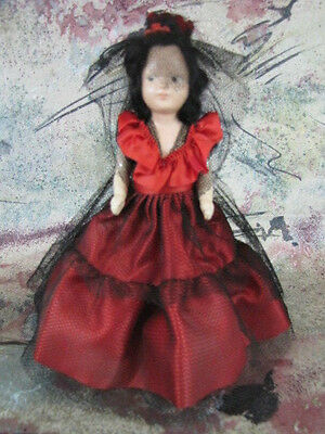 """RARE Vintage 7 1/2"""" Spanish Storybook 1940s Doll Painted Face Hard Plastic"""