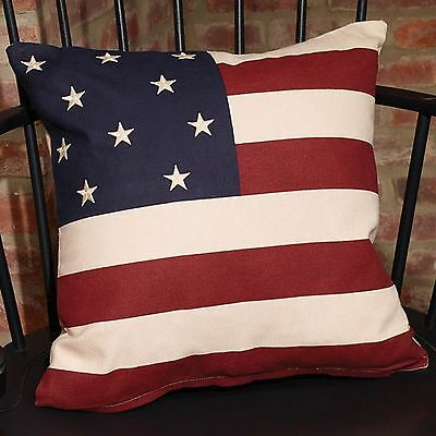 "Americana 16"" Flag Pillow Cover Primitive Unfilled"