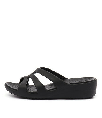 New Crocs Sanrah Strappy Wedge Black Womens Shoes Casual Sandals Heeled