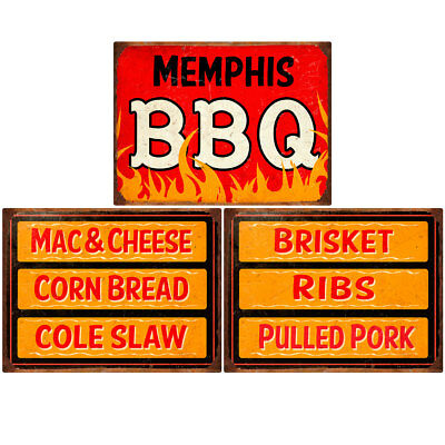 Memphis BBQ Southern Sides Menu Wall Decal Set 12 x 16 Kitchen Decor