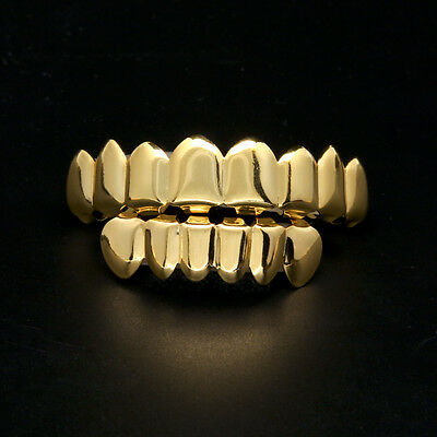 Gold Plated Cooper Grillz 8 Teeth 6 Teeth Bottom Grills Set Slugs Hip Hop Mouth