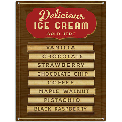 Delicious Ice Cream Parlor Menu Wood Style Diner Metal Sign Reproduction 12 x 16