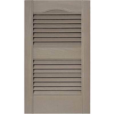 15 in. Vinyl Louvered Shutters in Clay - Set of 2 [ID 806208]