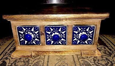 Handcrafted Ceramic Drawers Wood Box Jewelry Apothecary Spice Chest