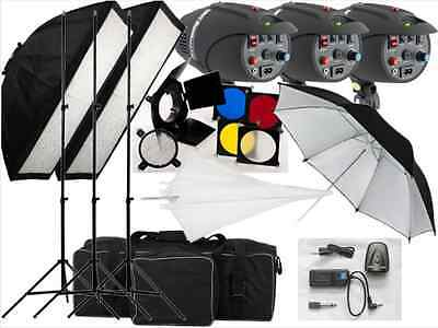 540w Studio Flash Lighting set 3x180w Light Kit P-180 Replaceable Flash bulbs UK