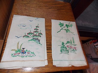 Hand Embroidered Fingertip Towel Set Chinese Mountains Birds Handmade