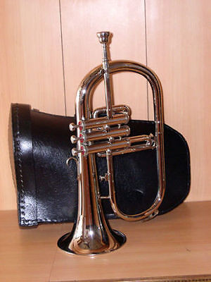 NEW SILVER NICKEL Bb FLAT FLUGEL HORN WITH FREE HARD CASE+MOUTHPIECE