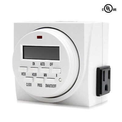 VIVOSUN Dual Outlet Digital Program Timer 7-Day On/Off Switch for Hydroponics
