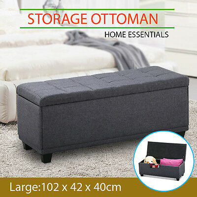 Blanket Box Storage Ottoman Linen Fabric Foot Stool Chest Toy Bed Large Grey