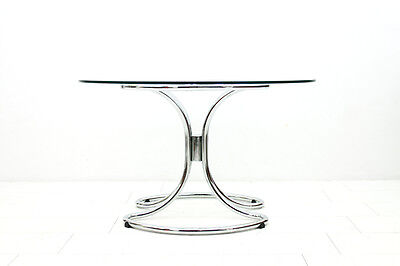 Giotto Stoppino Glass & Chrome Dining Table, Italy 1970`s