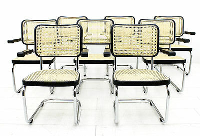 "Very rare Set of 8 Mart Stam Steel Tube ""Lobby Chairs"" S67F for THONET Bauhaus"