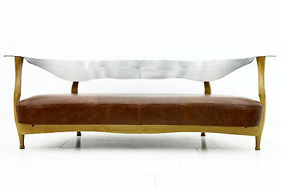 Sculptural Leather Sofa by Kurt Bayer Wood & Metal, ca. 1990s