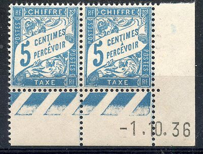Stamp / Timbre France Neuf Taxe N° 28 ** En Paire Coin Date