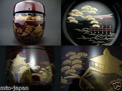 Japan Lacquer Wooden Tea Caddy The 3 Beauty Spots Of Japan Makie O-Natsume(0118)