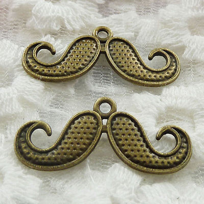 Free Ship 66 pieces bronze plated mustache pendant 30x13mm #270