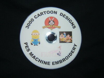 3000 cartoon pes machine embroidery designs on cd / dvd disc