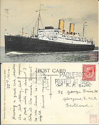Angleterre - PAQUEBOT - DUCHESS OF YORK - Posted at Sea 1929 - Glasgow