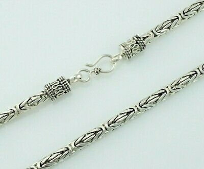 """20.5"""" Long 925 Solid Sterling Silver Bali / Byzantine Chain Necklace 5.2mm Width"""
