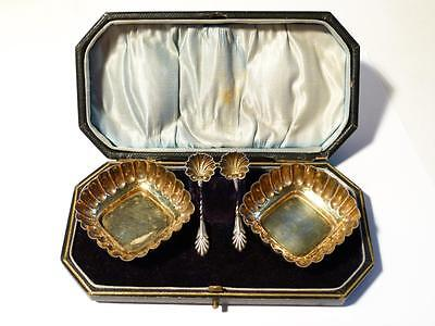 Antique Victorian 1895 Sterling Silver Salts & Spoons in Original Leather Box