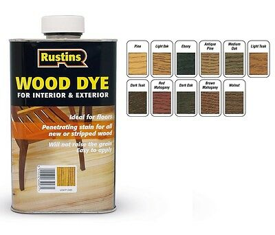 Rustins 1L Wood Dye Interior & Exterior <12 Colours> Penetrating Stain 1Ltr