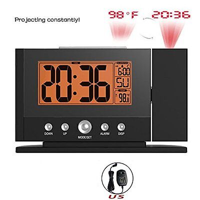 Snooze Alarm Clock Backlight Wall Projector Projection Clocks Thermometer