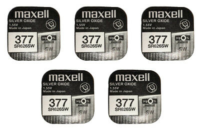 5 x Maxell Silver Oxide Watch Single Use Battery Batteries SR626SW/377/AG4/626