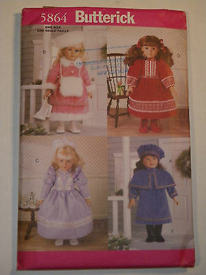 "18"" Doll Historical Clothing Sewing Pattern Butterick #5864 Uncut"