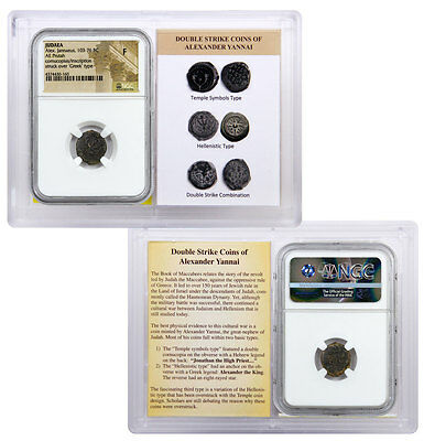 Widow's Mite Bronze Prutah Alex Jannaeus, 103-76 BC Double Struck NGC F SKU45206