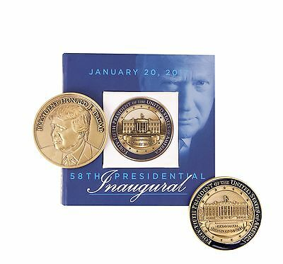 Donald Trump 58th Presidential Inauguration Collectible Bronze Coin & Case NEW