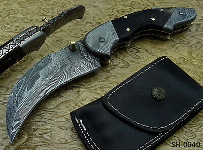 Custom Made Exquisite Damascus Steel Pocket / Folding Knife (Sh-0040)