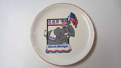 Vintage 1980, G.O.P. / Republican Convention Souvenir Plate, Detroit, Michigan