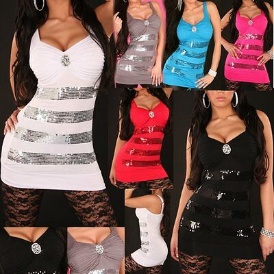 ♥ Sexy Miss Damen Long Top Stretch Mini Kleid Pailletten Strass Brosche 34/36/38