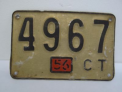 Vintage Used 1956 4967 Car Automobile Connecticut CT License Plate Tag Aluminum